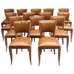 Set of 14 Fine French Art Deco Cerused Oak Dining Chairs