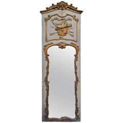 Rococo Mirror Hand-Carved and Gilded, Trumeau or over Mantel with Hunting Decor