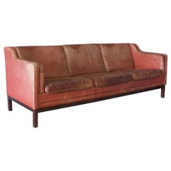 Large Midcentury Red Leather Sofa