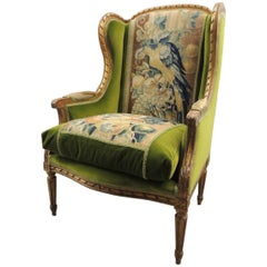 19th Century Aubusson Tapestry Upholstered French Wing Chair