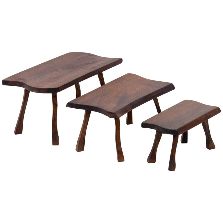 Set of Three Tree Trunk Slab Nesting Tables