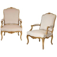 19th Century Louis XV Pair of Fauteuils