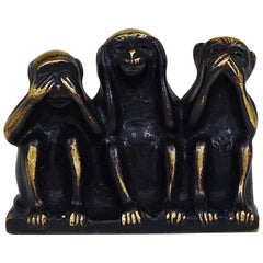 Walter Bosse Three Wise Monkeys Brass Figurine, Hertha Baller, Austria, 1950s