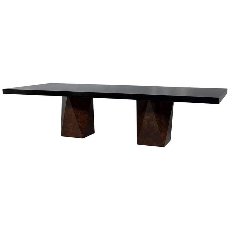 Carrocel Custom Burl Walnut Dining Table with Geometric Base