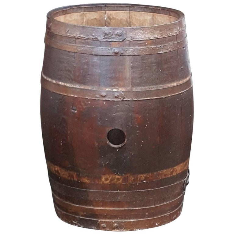 Early 20th Century Iron Bound Coopered Barrel
