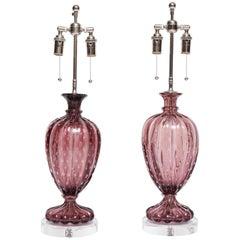 Pair of Amethyst Barovier Lamps