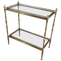 1940s French Brass and Glass Console with Removable Serving Trays