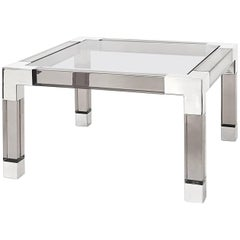 Jacques Cocktail Table in Smoke Lucite and Nickel