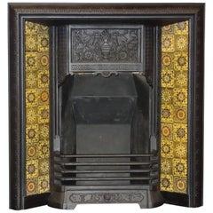 Irish 19th Century Victorian Cast Iron Fireplace Insert Grate with Antique Tiles