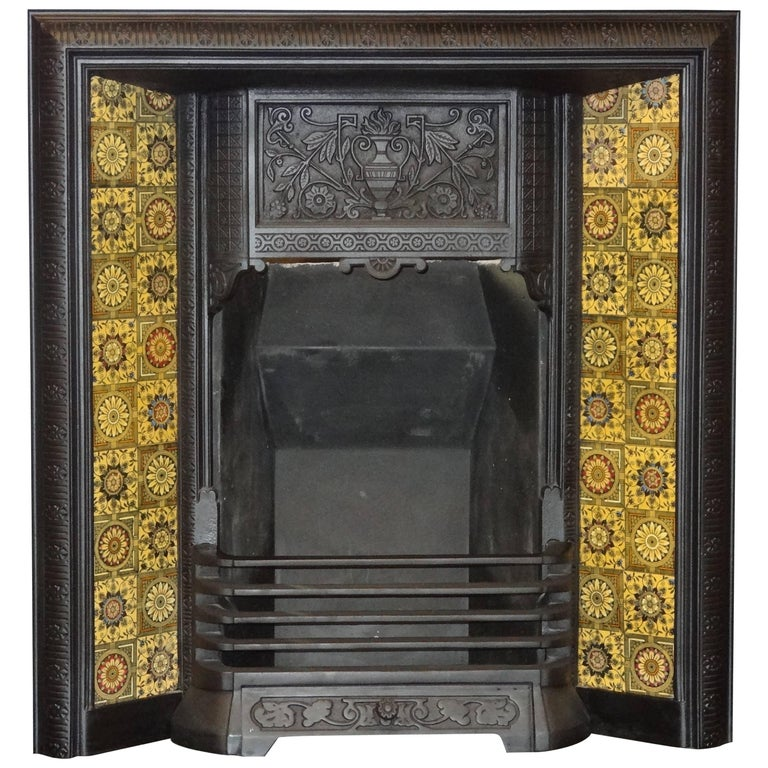 Irish 19th Century Victorian Cast Iron Fireplace Insert ...