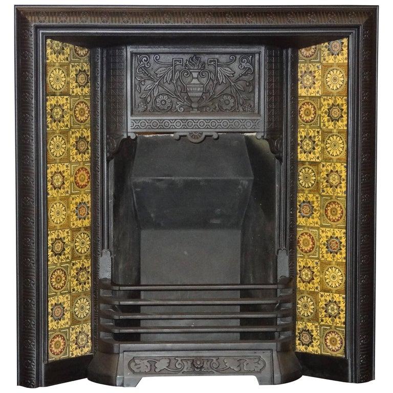 Irish 19th Century Victorian Cast Iron Fireplace Insert