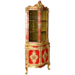 20th Century, Italian Lacquered and Gilt Corner Cupboard
