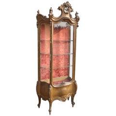 French Golden Wooden Display/Vitrine/Cabinet Vitrine