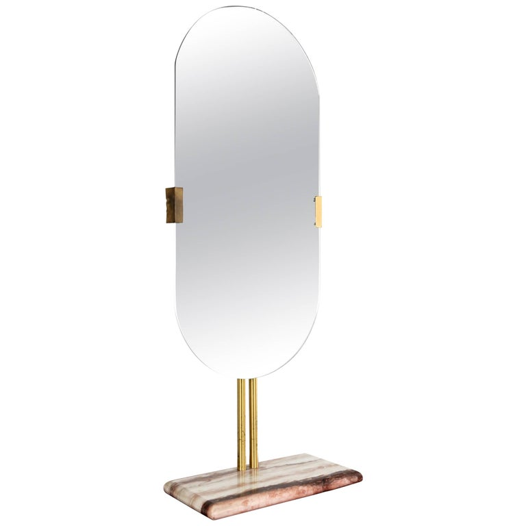 Large Table Mirror in Marble and Brass, Italy, 1960s