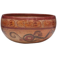 Pre-Columbian Maya Polychrome Monkey Bowl