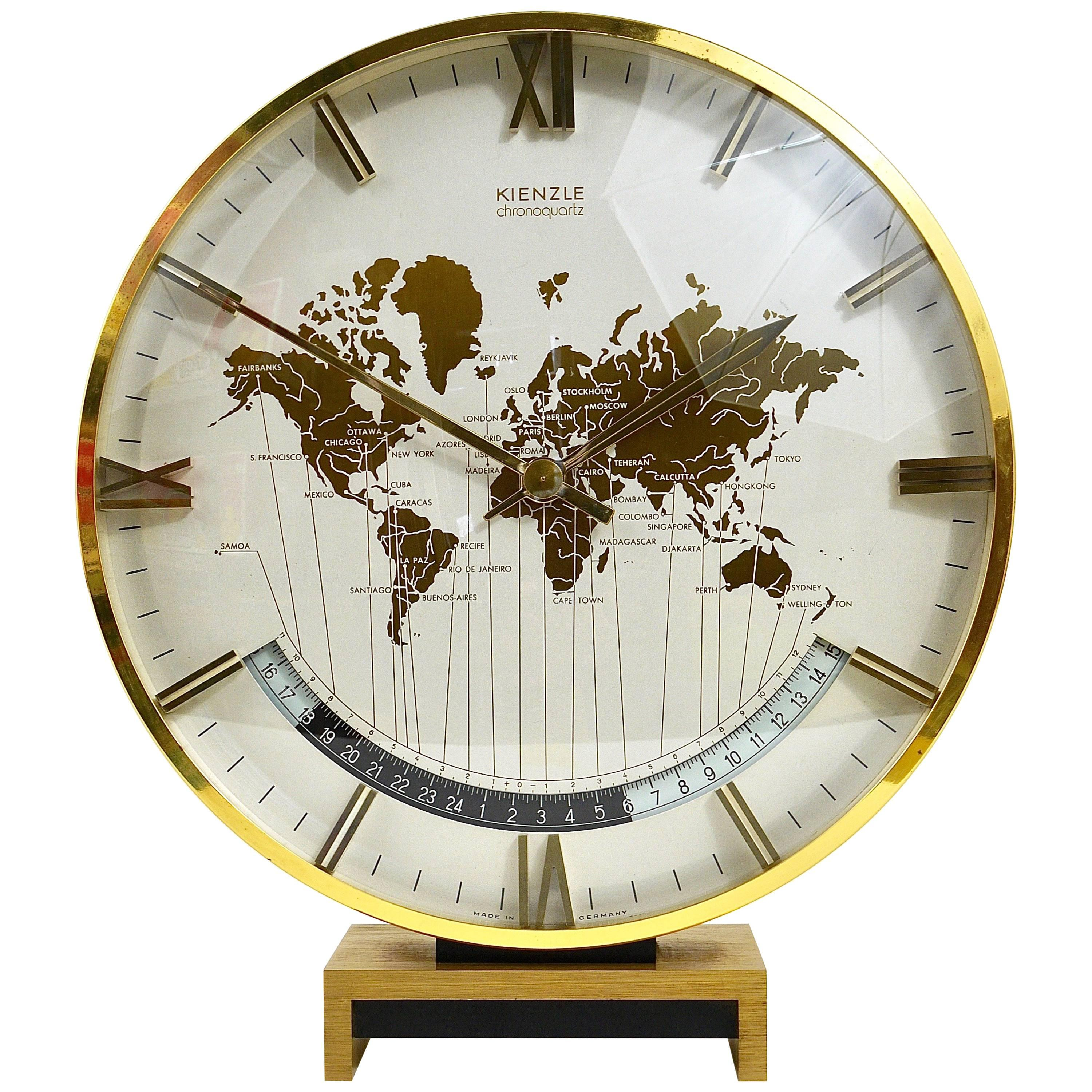 Large Midcentury Kienzle GMT World Time Zone Brass Table Clock, Germany,  1960s