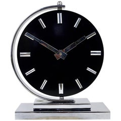Big Black Art Deco Mantel Clock with Rotatable Clocks Face, Germany, 1930s