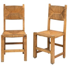 Pair of French Woven Side Chairs