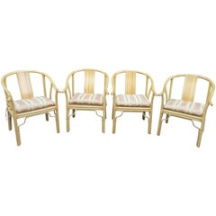 Four Vintage Bamboo Armchairs with Custom Cushions