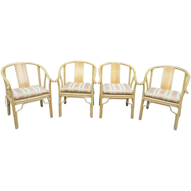 Four Vintage Bamboo Armchairs with Custom Cushions For Sale