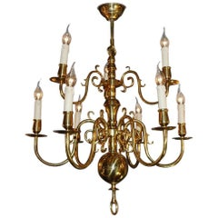 20th Century Brass Chandelier
