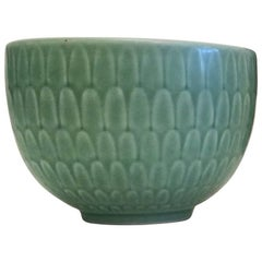 1950s Nils Thorsson Small Green Faience Marselis Bowl Royal Copenhagen