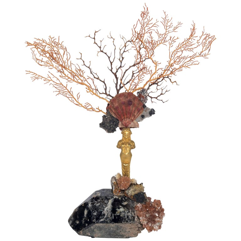 Calypso Coral Sea Fan Quartz Caryatid Sculpture For Sale