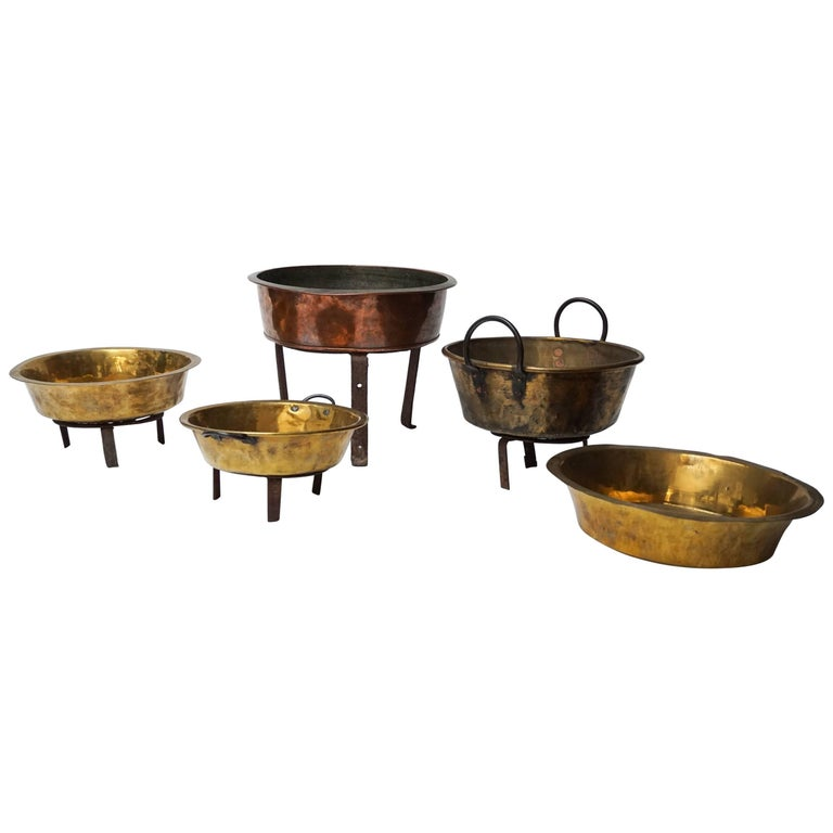 Set of Five Large Copper and Brass Jam or Confiture Pans