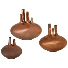 Set of Bronze Glaze Aorta Vases