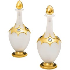 Exceptional Pair of Opaque Glass Ormolu Mounted Decanters by Leuchars