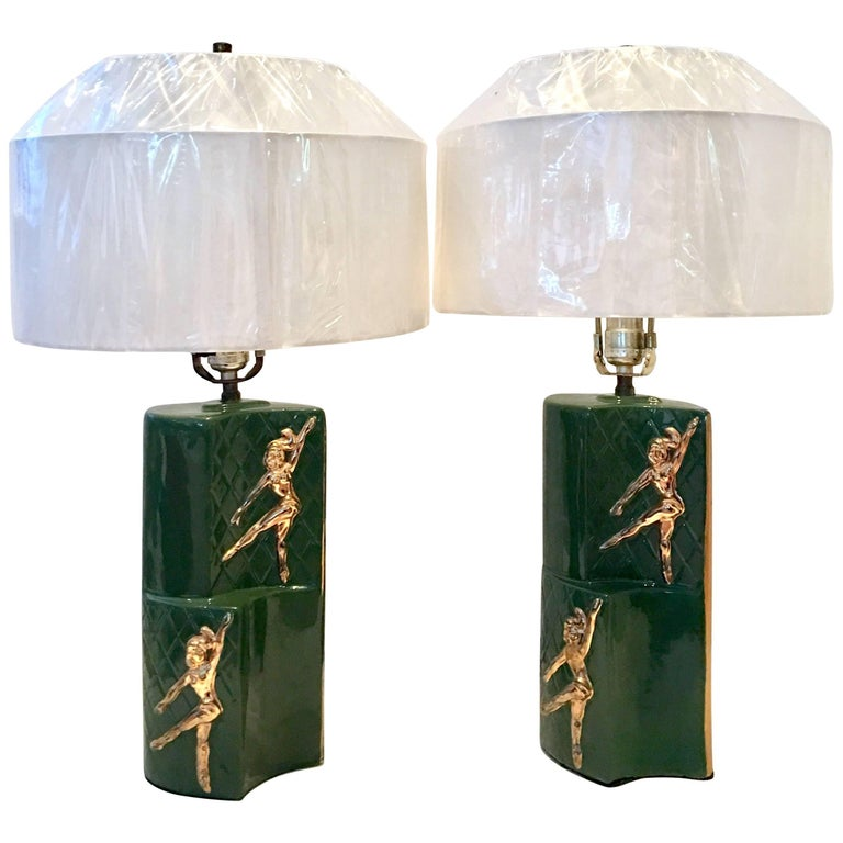 "Mid-Century Modern Ceramic Glaze ""Gymnast"" Pair of Lamps"