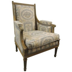 19th Century French Neoclassical Fauteuil with Carved Wood Frame
