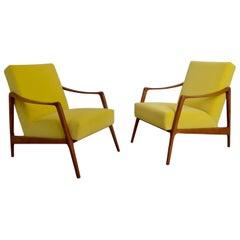 Pair of Teak Armchairs with Yellow Fabric, Denmark, circa 1958
