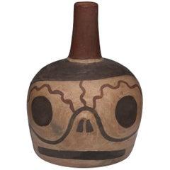 Pre-Columbian Nazca Polychrome Skull Bottle