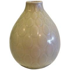 1950s Nils Thorsson Yellow Faience Marselis Vase Aluminia Royal Copenhagen