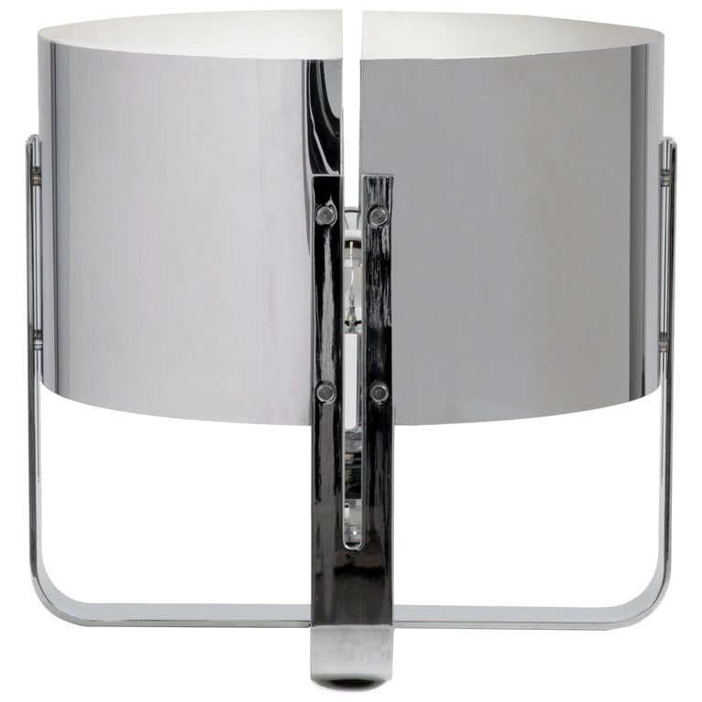 Jacques Quinet Stainless Steel Lamp For Sale