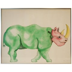 Signed Watercolor of Rhinoceros by Anna Dibble, 1972