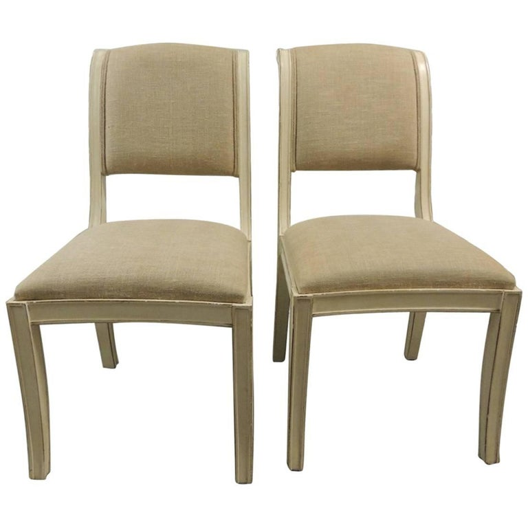 Pair of wood painted dining chairs upholstered in linen for Upholstered linen dining chairs