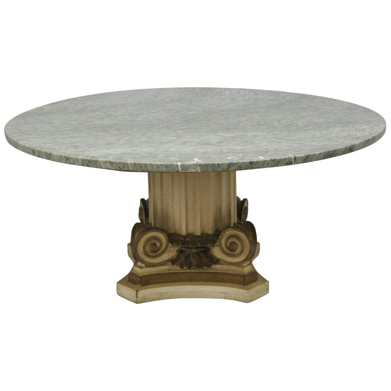 Green Marble Top Fluted Corinthian Column Carved Wood Round Coffee Table For