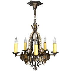 Five-Candle Brass Tudor Chandelier