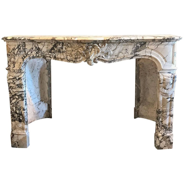 Antique Carrara Marble Mantel, circa 1750
