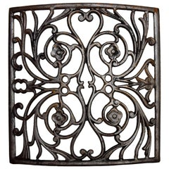 Curved Iron Heat Grate with Floral Motif, Multiple Available