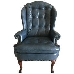 Handsome Steel Blue Leather Wing Chair