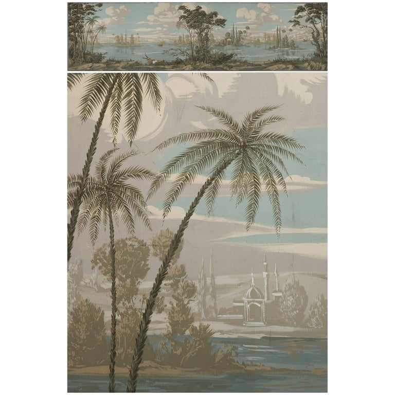 19th Century Large Panoramic Painting in Romantic Style
