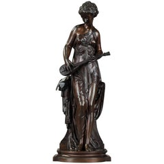 19th Century Patinated Bronze Figure: Muse by Paul Duboy