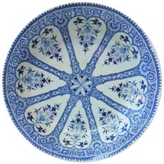 Large French Blue and White Platter Sarreguemines Francois