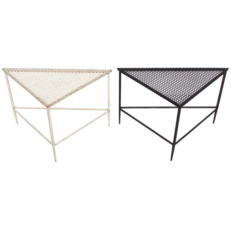 Pair of Triangular Mathieu Matégot Tables for Artimeta, 1950s