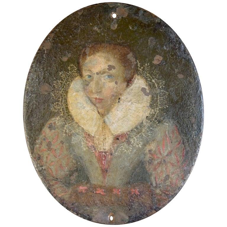 17th C. Flemish Miniature Portrait on Copper After Frans Pourbus the Younger