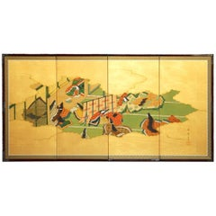 "Japanese Four-Panel ""Tales of Genji"" Folding Byobu Screen"