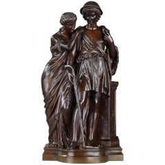 Bronze Group Shepherds of Arcadia by Eugène-antoine Aizelin and Ferdinand Barb